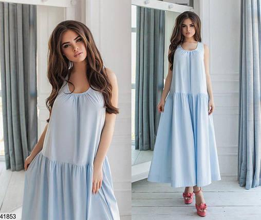 Летнее платье макси широкое с воланом без рукав коттон голубое, фото 2