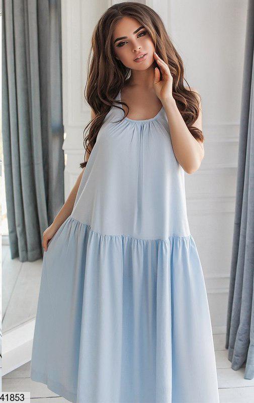 Летнее платье макси широкое с воланом без рукав коттон голубое