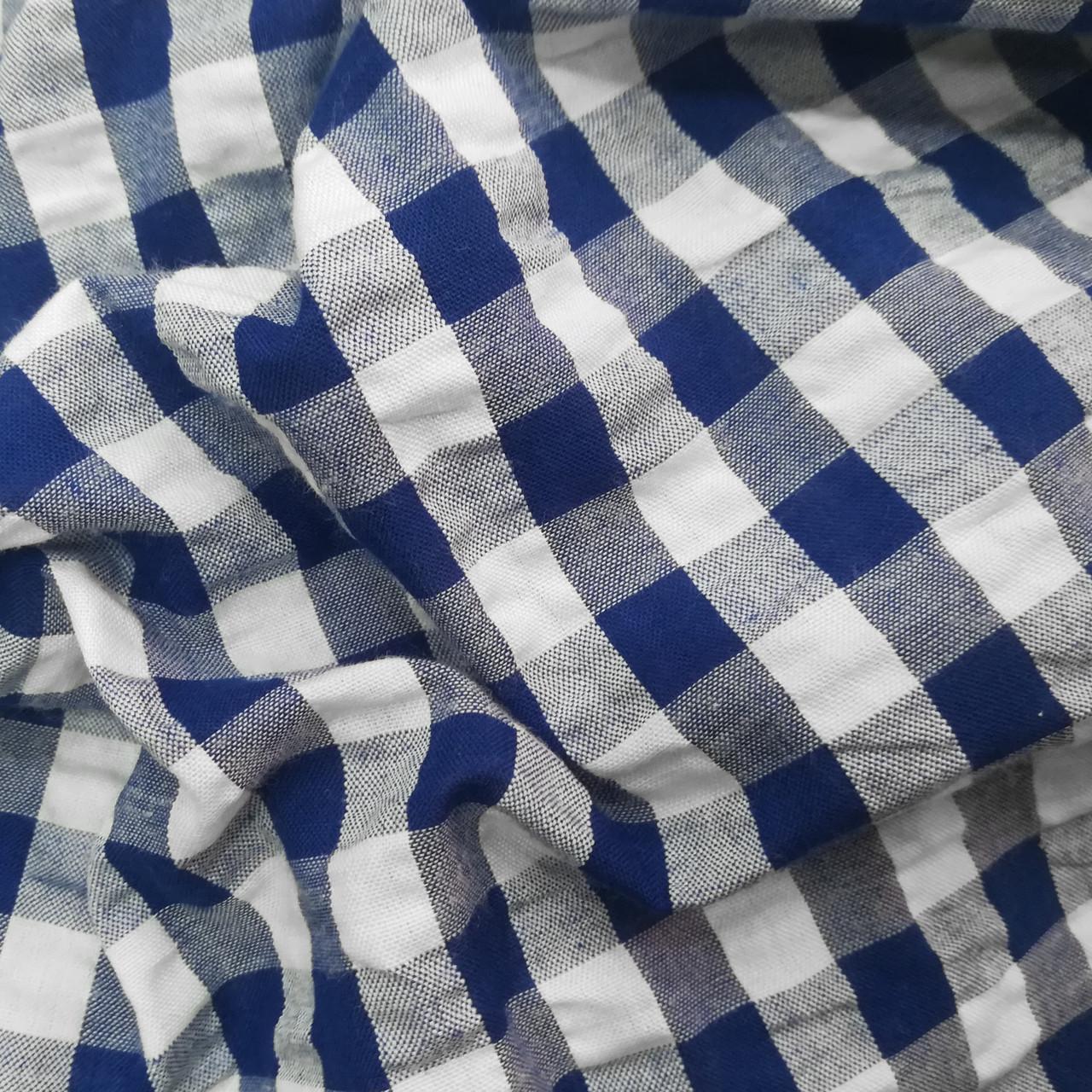 Рубашечная ткань клетка 1см (синий / белый)