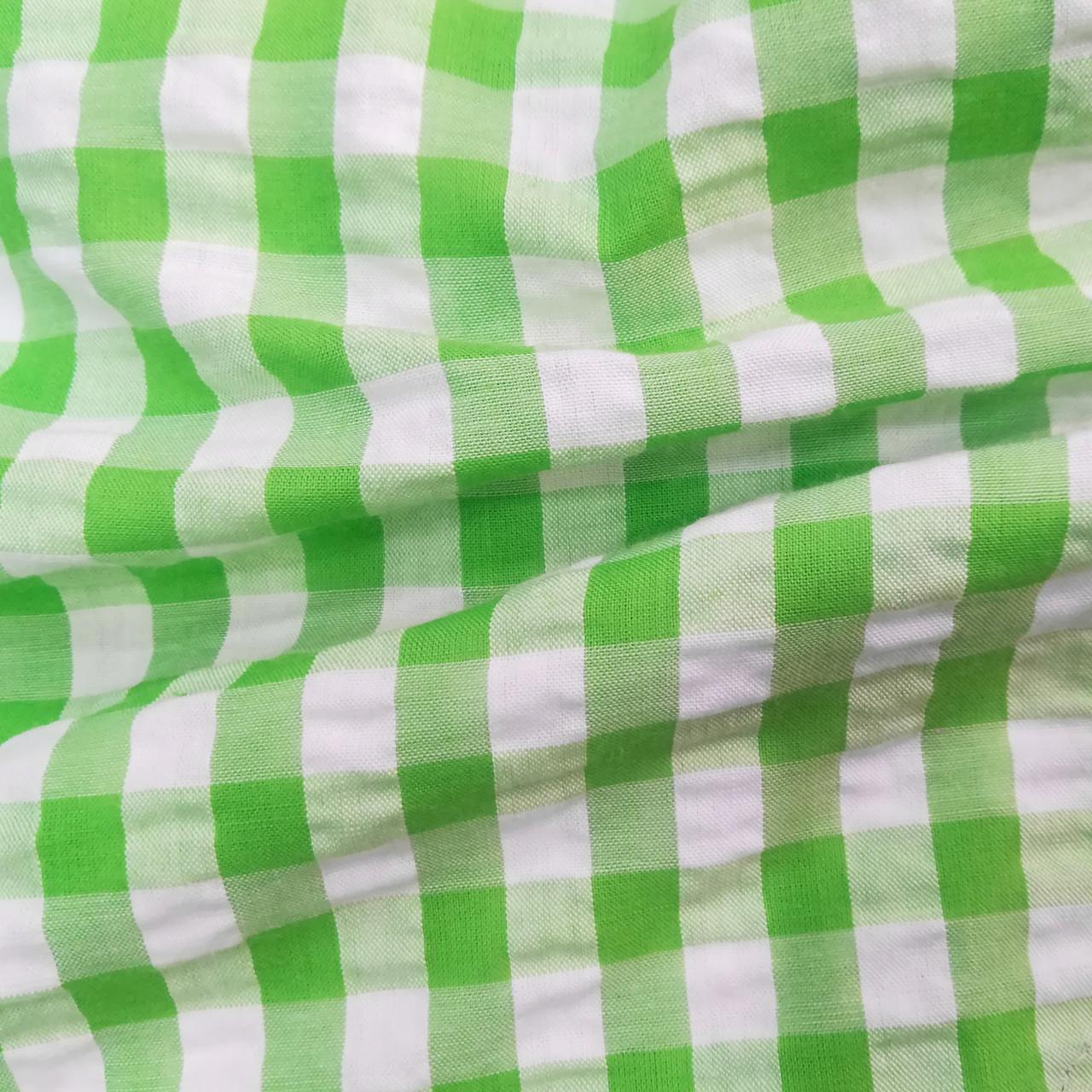 Рубашечная ткань клетка 1см (салатовый / белый)