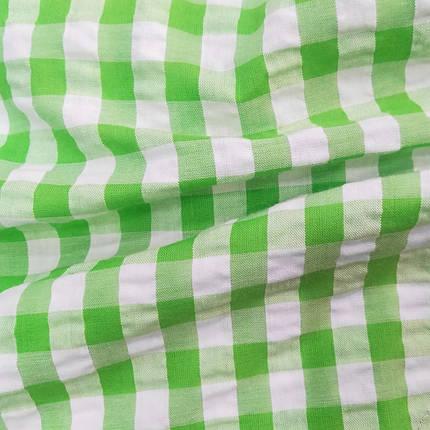 Рубашечная ткань клетка 1см (салатовый / белый), фото 2
