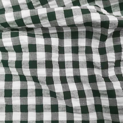Рубашечная ткань клетка 1см (темно-зеленый / белый), фото 2