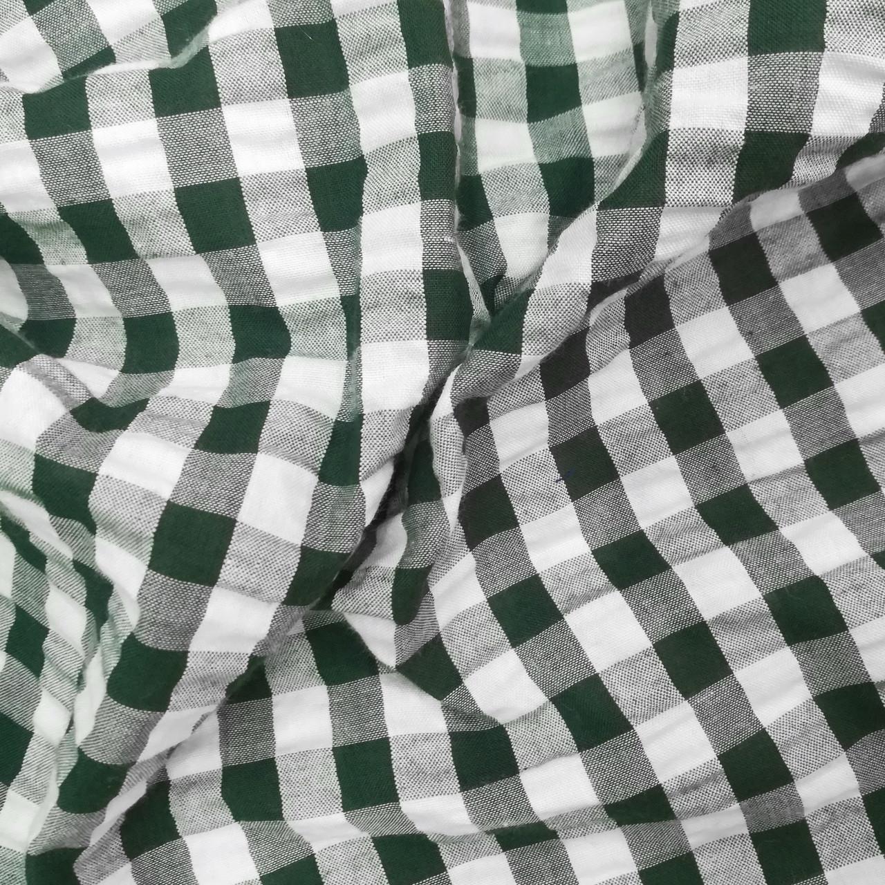 Рубашечная ткань клетка 1см (темно-зеленый / белый)