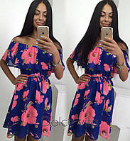 Шифоновое платье короткое