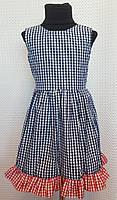 Летнее платье для девочки Ева р.104-122 темно-синий+красный, фото 1