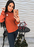 Теплый и приятный к телу, женский свитер, декорирован брошкой с пушком. РАЗНЫЕ ЦВЕТА