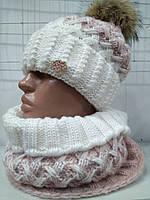 Комплект «Вилена» (шапка и шарф-хомут) 4605-7 пудра +белый