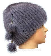 Меховая шапка из норки серо голубого  цвета на вязанной  основе