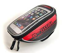 Велосумка для смартфона (сумка на руль велосипеда для мобильного телефона) B-Soul, красная