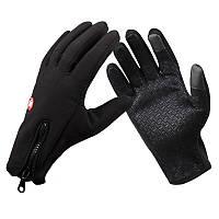 Перчатки велосипедные зимние (тёплые непродуваемые) Windstopper B-Forest, черные, р-р M