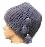 Меховая шапка из норки серо голубого  цвета на вязанной  основе с широким доннышком