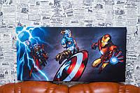 """Принт на холсте """"Тор. Капитан Америка. Железный человек. Мстители"""" 80х40 см. Marvel Comics"""