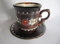 Чашка глиняная кофейная Вишня (С росписью Вишенка)