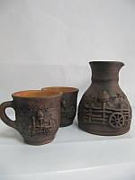 Турка + 2 чашки Узор СК (Станиславcкая глиняная посуда)