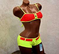 Подростковый купальник для девочки 12-13 лет, раздельный шортиками красно-желтый