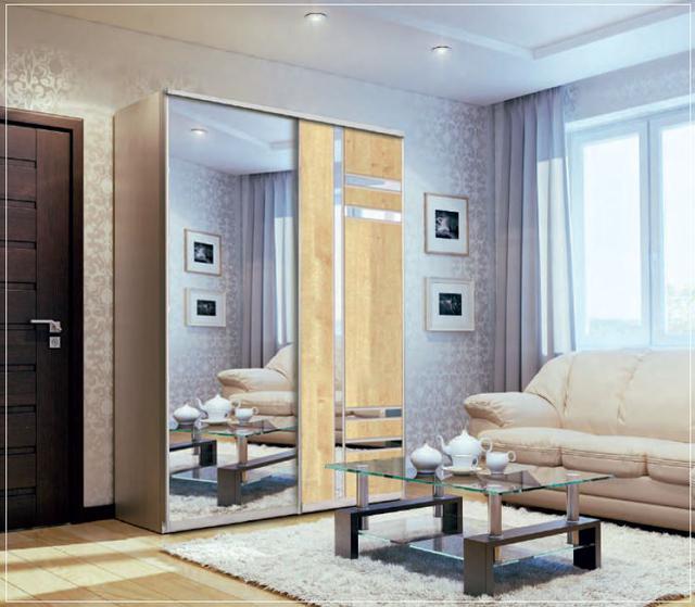 Шкаф-купе Стандарт 4 двухдверный высота 2100 фасад зеркало+комбиниорванный ДСП с зерколом