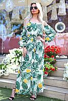 Длинное летнее платье с рукавами Батал до 56р 16298-1, фото 1