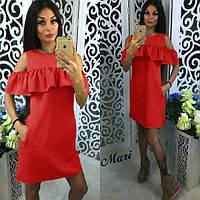 """Платье с воланом и карманами """"Глория"""" 46, красный"""