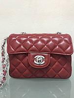 Сумочка (сумка) клатч Шанель LUX копия кожа натуральная красная
