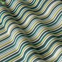 Уличная ткань в зеленую и салатную полосу на белом
