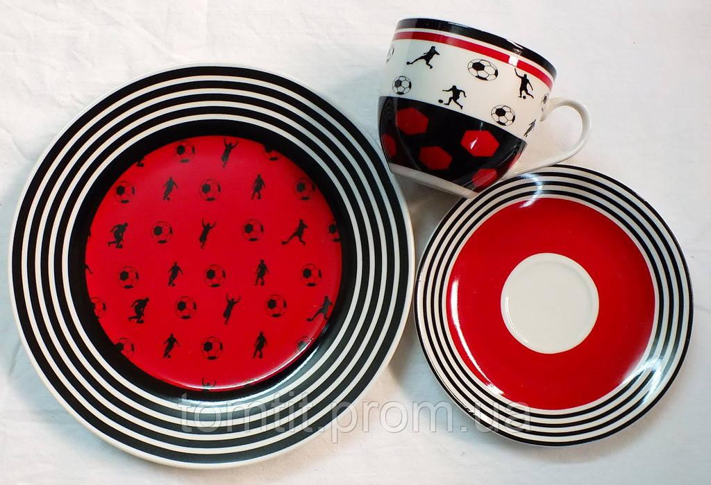 """Набор посуды (3 предмета) """"Футбол"""" - цвет красный"""