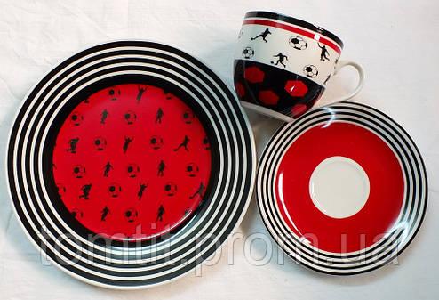 """Набор посуды (3 предмета) """"Футбол"""" - цвет красный, фото 2"""