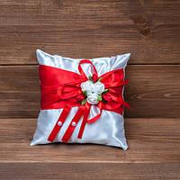 Свадебная подушечка для колец в бело-красном цвете, подушечка для обручок