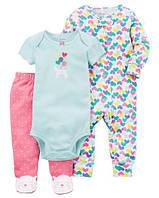 Набор с 3-х частей Floral Sleep & Play Set Carter's для девочки  NB/до 55 см