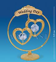 Фигурка с кристаллами Сваровски Свадебные сердечки 9,5 см AR-1169
