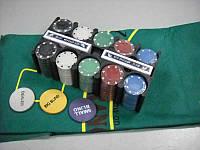 Покерный набор Покер 200(TC04200B) металл (карты + фишки+сукно)