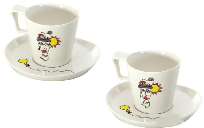 Чашка для завтрака Berghoff 3705008 Eclipse Ornament с блюдцем 0,4 л 2 шт