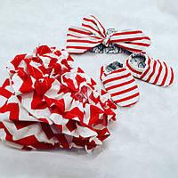 Червоні трусики під памперс + пінетки + пов'язка-солоха, фото 1