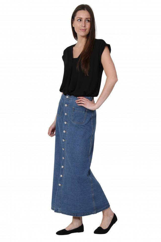Длинная джинсовая юбка Plus Size с пуговицами спереди Simply Chic (США)