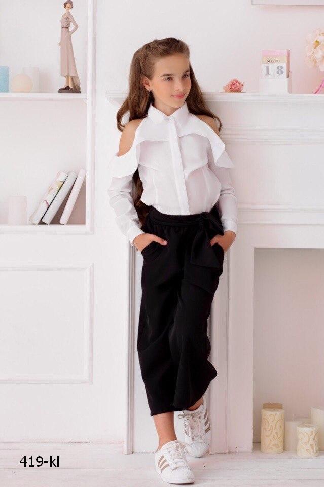 Рубашка блузка детская летняя открытые плечи школьная блузка коттон рост:134-152 см
