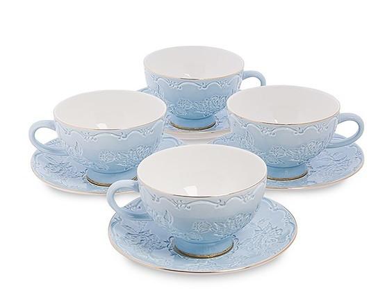 Чайний набір на 4 персони Лаце Росса з кістяного порцеляни AS-05
