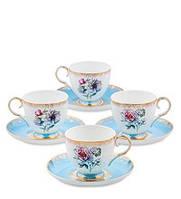 """Чайный набор на 4 персоны """"Цветок Неаполя"""" Pavone из костяного фарфора JK-129"""
