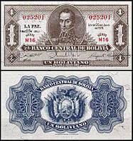Боливия 1 боливиано 1952 UNC
