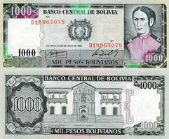 БОЛИВИЯ 1000 песо 1982г. UNC