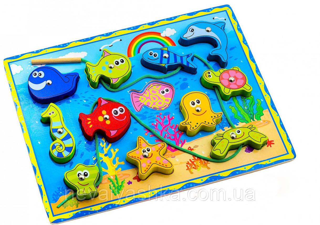 Деревянная игрушка 2в1 Рамка Вкладыш и Шнуровка Морские обитатели, ADM-172, 008417