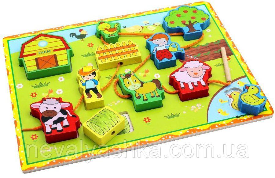 Деревянная игрушка 2в1 Рамка Вкладыш и Шнуровка Ферма, ADM-172, 008416