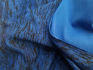 Футер двунитка принт крупный меланж синий (ширина 150см)