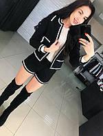 Модный и стильный, женский костюм из твида: жакет + шорты, с контрастной отделкой. РАЗНЫЕ  ЦВЕТА