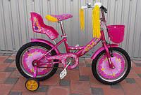 """Детский велосипед Azimut Girls 18"""" с сидением для кукол,розовый"""