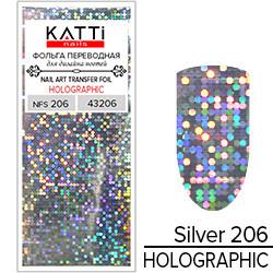 KATTi Фольга переводная NFS 206 holographic серебро (круги калейдоскоп) 25см