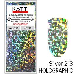 KATTi Фольга переводная NFS 213 holographic серебро (битая геометрия прямоугольники) 25см