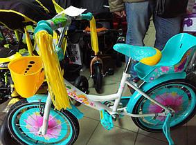 """Детский велосипед Azimut Girls 14"""" с сидением для кукол,бирюзовый"""