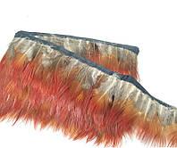 Перья декоративные фазана на ленте N5 Серо-рыжие 5 см/50 см