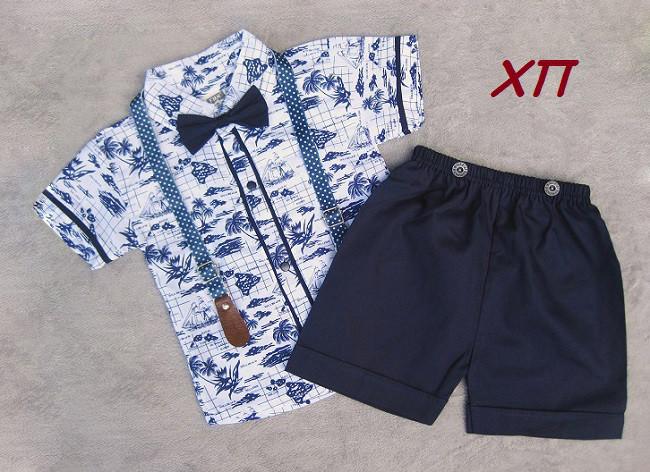 Нарядный летний костюм для мальчика с бабочкой и подтяжками Турция  р. 1 (18 мес.)