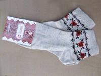 Вышитые носки Маки (лен) (Носки с вышивкой)