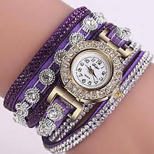 Часы браслет Duoya  в стразах фиолетовые